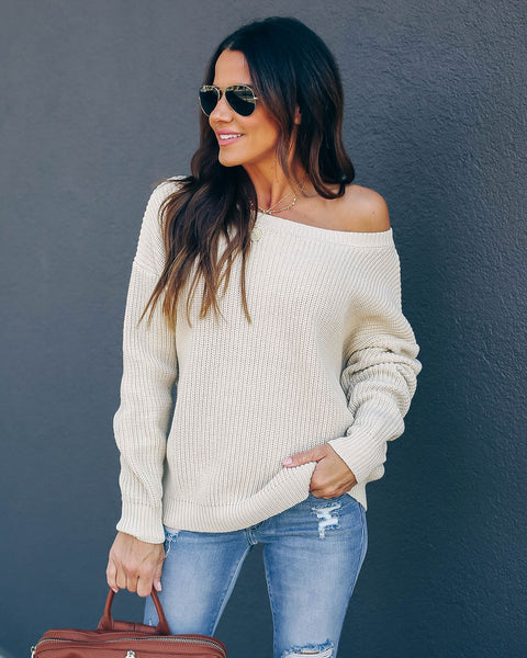 Practice Kindness Cotton Knit Sweater - Natural