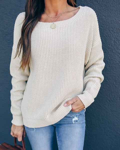 Practice Kindness Cotton Knit Sweater - Natural - FINAL SALE