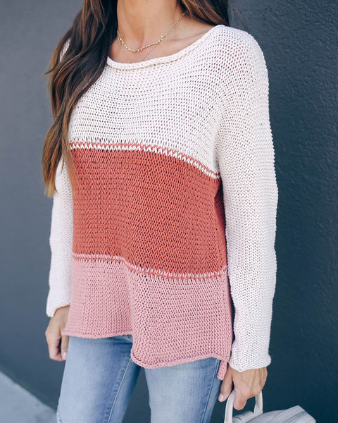 Tallulah Cotton Colorblock Knit Sweater