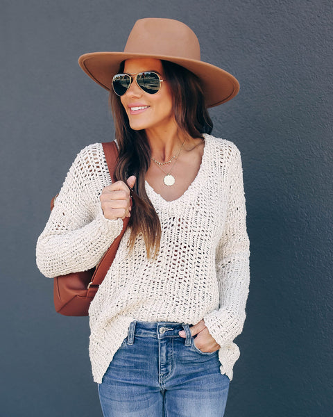 Rhonda Cotton V-Neck Knit Sweater