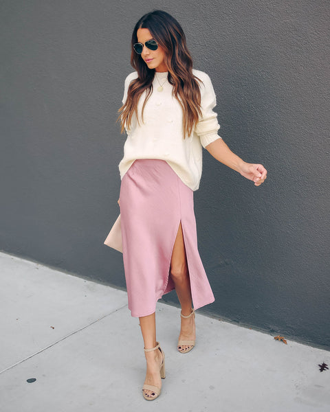 Fashionably Late Satin Slit Midi Skirt