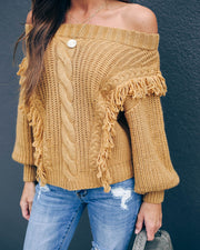 Frappe Fringe Knit Sweater - Caramel  - FINAL SALE
