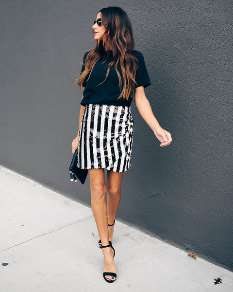 The Who Striped Sequin Mini Skirt  - FINAL SALE