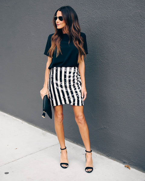 The Who Striped Sequin Mini Skirt