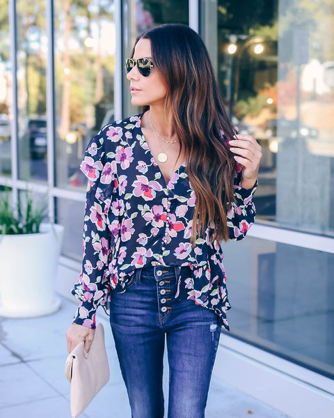 As Luck Would Have It Floral Ruffle Blouse - FINAL SALE