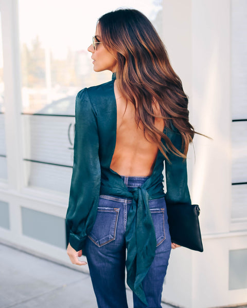 Janis Satin Tie Back Blouse - Hunter Green - FINAL SALE