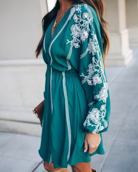 Remember When Embroidered Floral Dress - Dark Teal - FINAL SALE