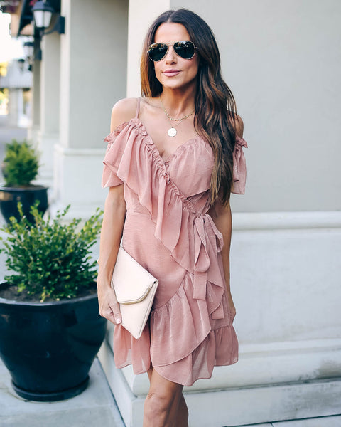 Shelly Cold Shoulder Ruffle Wrap Dress - FINAL SALE