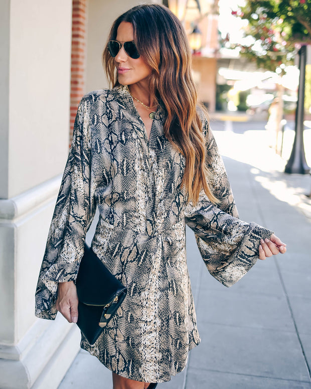 Laurent Python Print Twist Kimono Dress - FINAL SALE view 4