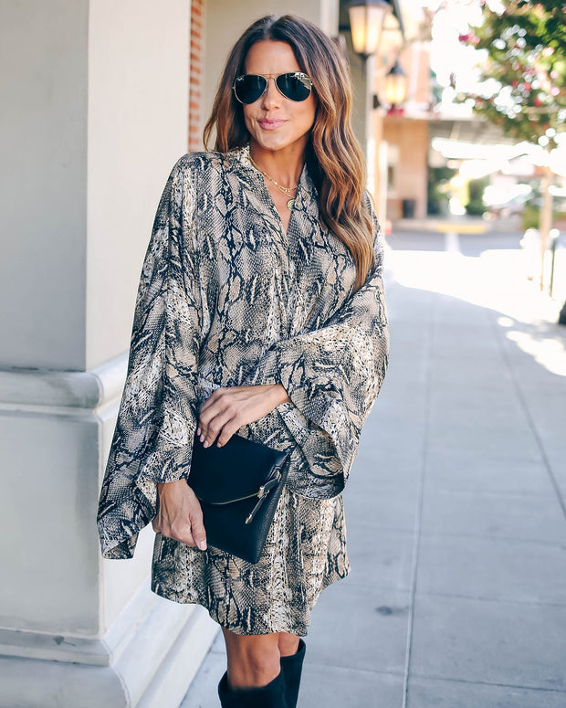 Laurent Python Print Twist Kimono Dress - FINAL SALE view 5
