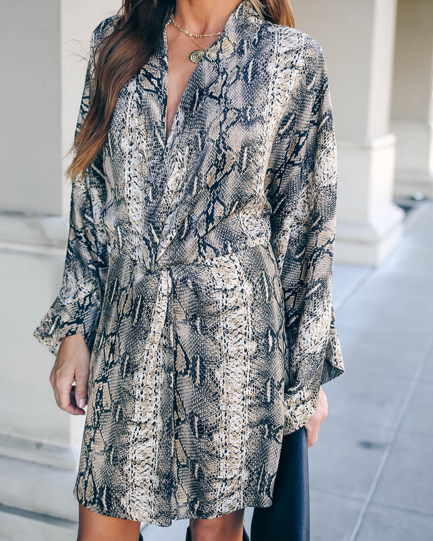 Laurent Python Print Twist Kimono Dress - FINAL SALE view 7