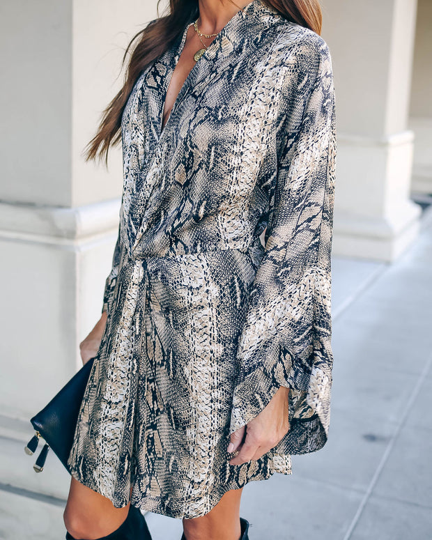 Laurent Python Print Twist Kimono Dress - FINAL SALE view 8