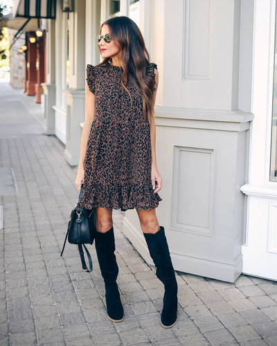 Outdone Yourself Leopard Babydoll Dress
