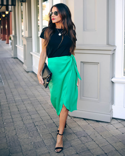 Inside Scoop Satin Wrap Midi Skirt - FINAL SALE