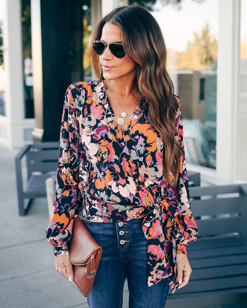 Whistle While You Work Floral Wrap Top