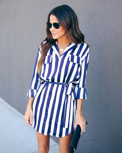 Calloway Striped Button Down Shirt Dress- FINAL SALE