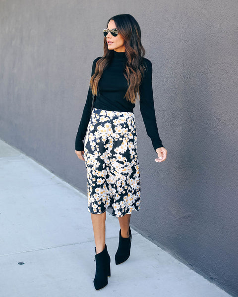 Fancy Plants Satin Midi Skirt