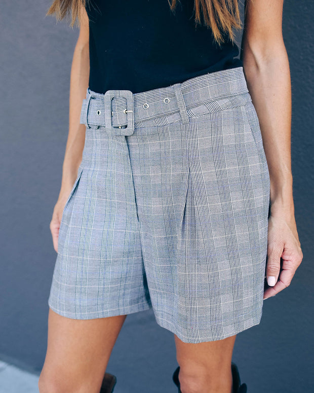 Johnson Pocketed Belted Plaid Shorts - FINAL SALE