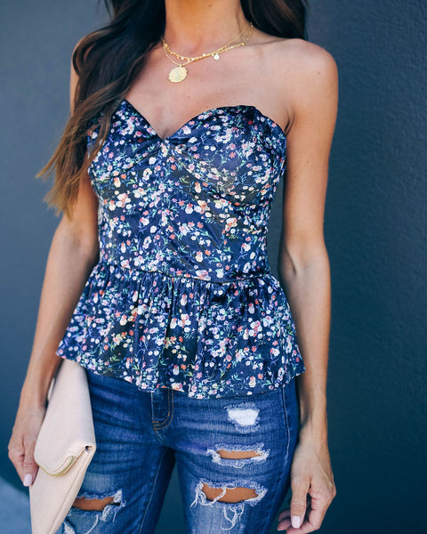 Change Of Season Strapless Velvet Peplum Top