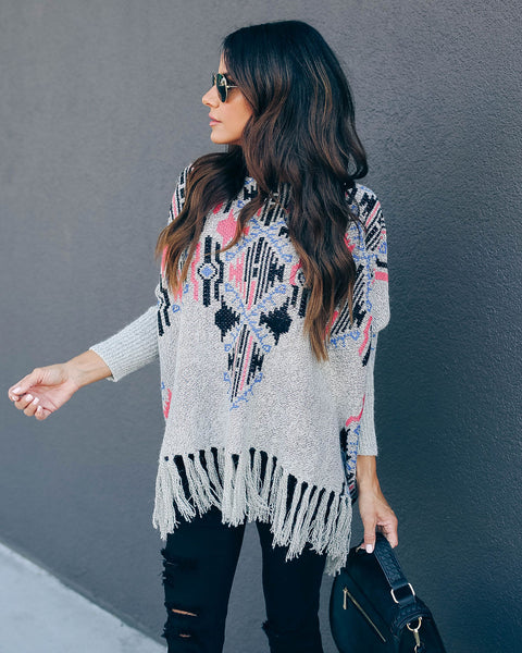 Zeke Cotton Blend Fringe Poncho Sweater