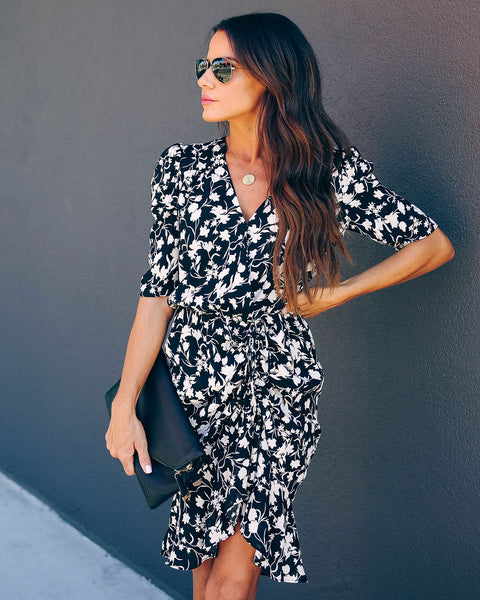 Think Less Live More Floral Ruched Dress  - FINAL SALE
