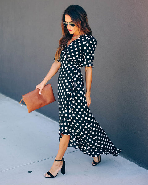 Delphina Polka Dot High Low Wrap Maxi Dress - FINAL SALE