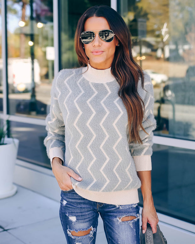Roscoe Fuzzy Knit Chevron Sweater - Charcoal - FINAL SALE