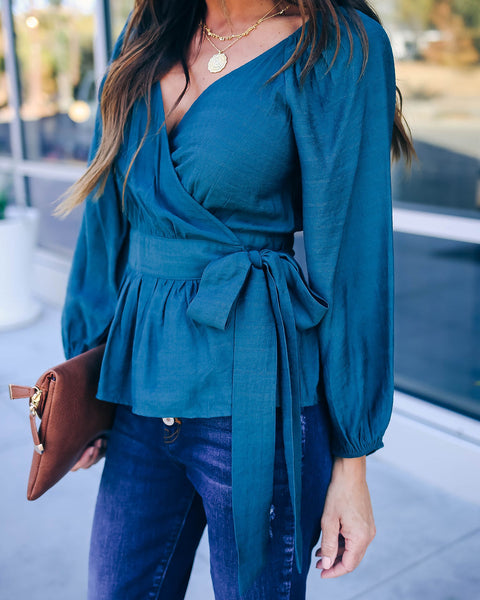 Beautiful Time Of Year Wrap Top - Jade - FINAL SALE
