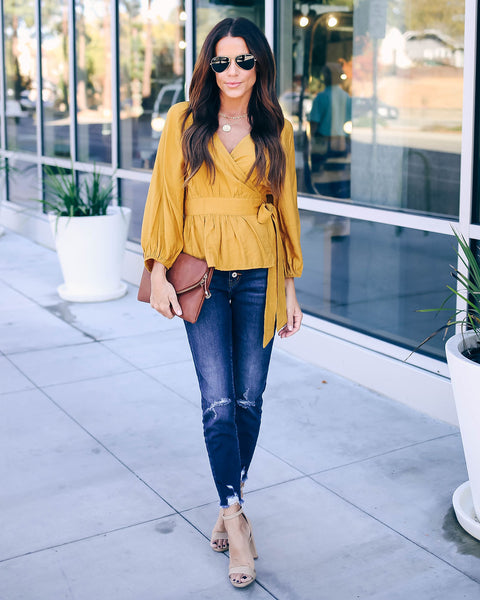 Beautiful Time Of Year Wrap Top - Mustard - FINAL SALE