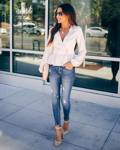 Come On Darling Peplum Wrap Blouse - Cream - FINAL SALE