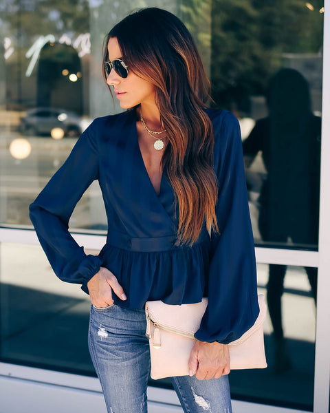 Come On Darling Peplum Wrap Blouse - Navy - FINAL SALE