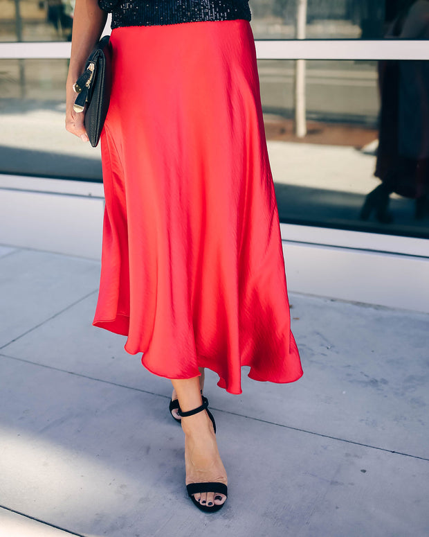 State Of Bliss Satin Asymmetrical Midi Skirt - Red - FINAL SALE