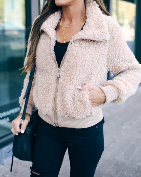 Baltimore Pocketed Teddy Jacket - Taupe