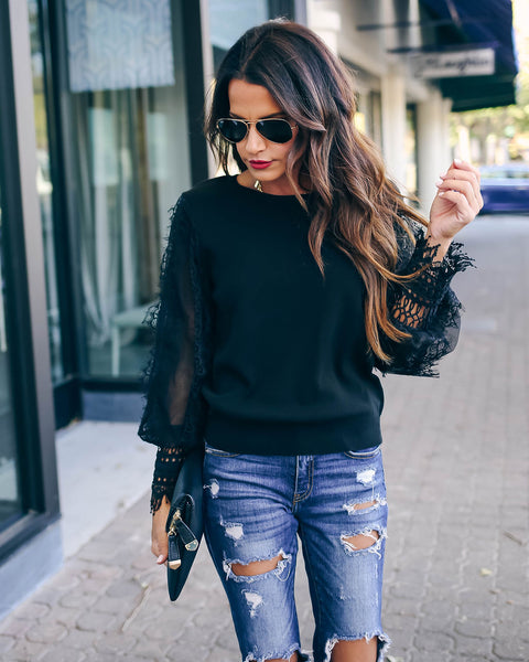 Before The Dawn Lace Sleeve Sweater - Black - FINAL SALE