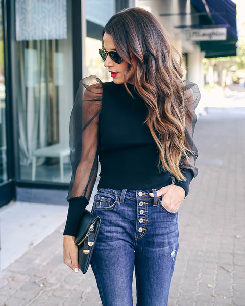Glowing Halo Sheer Puff Sleeve Knit Top - Black