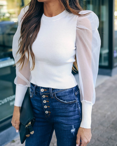 Glowing Halo Sheer Puff Sleeve Knit Top - Off White