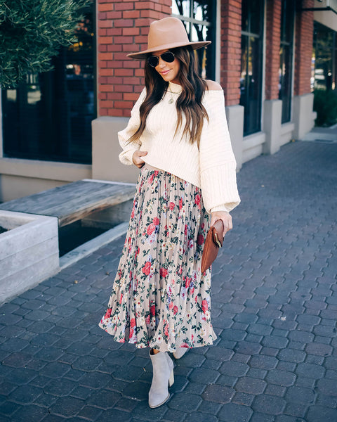 Paper Planes Pleated Floral Midi Skirt - FINAL SALE