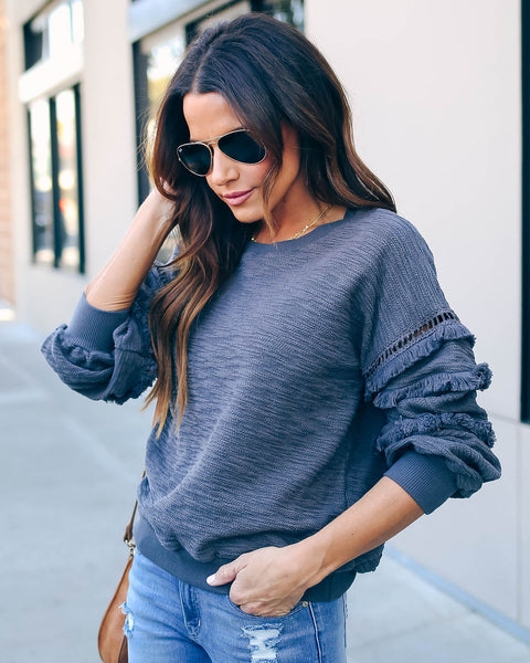 Beverly Hills Cotton Fringe Sweatshirt - Charcoal - FINAL SALE