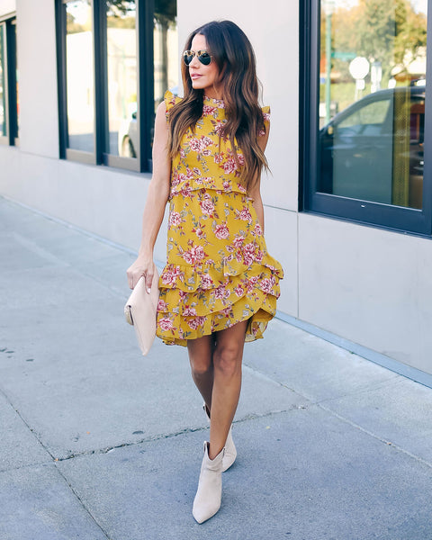 Jenny Sleeveless Floral Ruffle Dress   - FINAL SALE