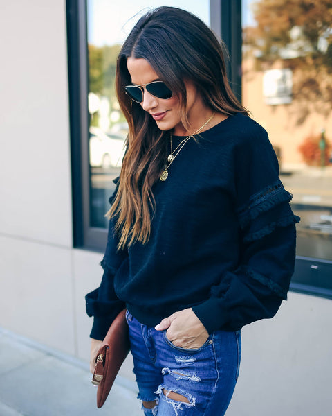 Beverly Hills Cotton Fringe Sweatshirt - Black - FINAL SALE