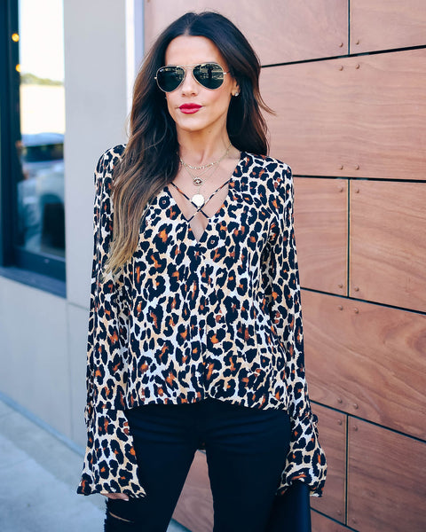 Yuma Desert Leopard Surplice Top - FINAL SALE