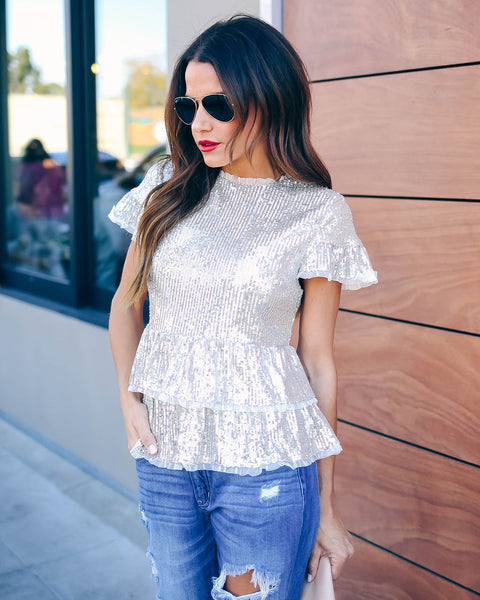 Spark Interest Sequin Tiered Blouse