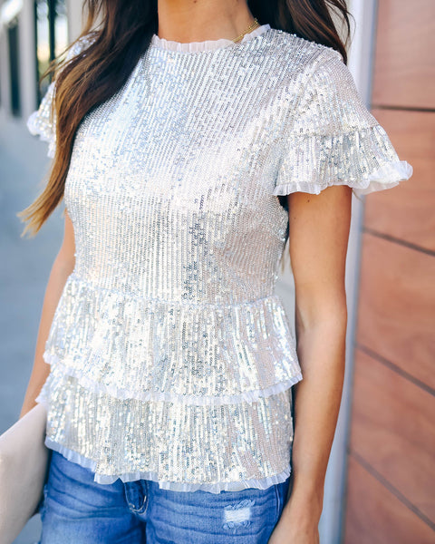 Spark Interest Sequin Tiered Blouse - FINAL SALE