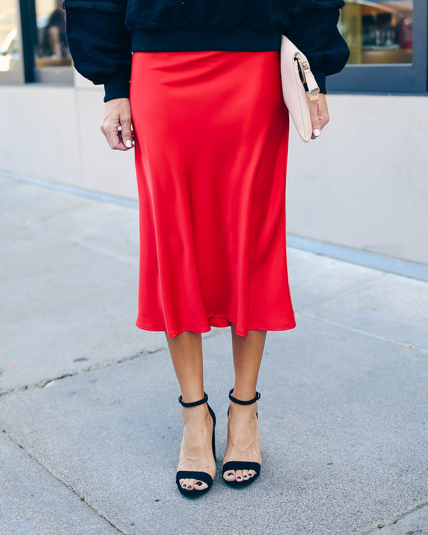 Silken Splendor Midi Skirt - Red