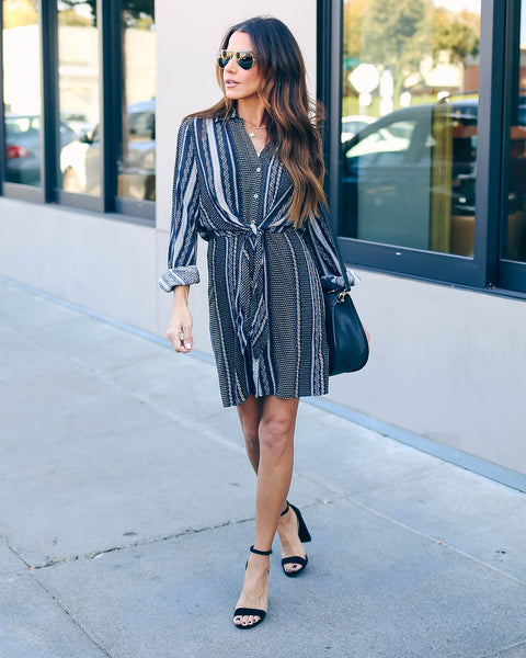 Zella Button Down Tie Front Shirt Dress