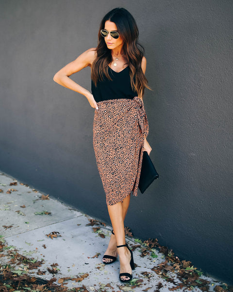 Wish You Were Here Printed Wrap Skirt