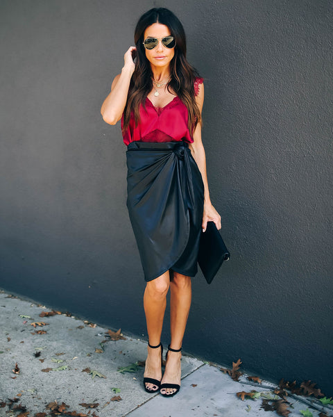 Drum Roll Matte Wrap Skirt