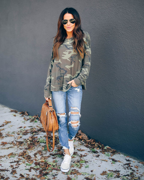 Konnor Camo Long Sleeve Knit Top