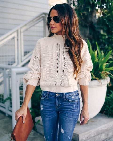 Shania Cropped Mock Neck Knit Sweater