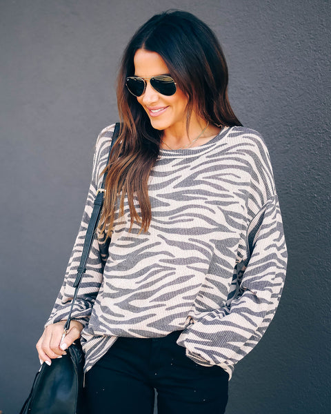 Howlin' For You Zebra Print Knit Top